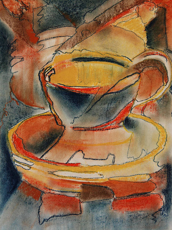 Cup Poster featuring the pastel Tea For One - Korea Midnight Series by Shirley McMahon