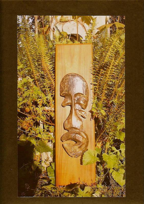 Bronze Man Poster featuring the photograph Teak Man Mask by Eric Singleton