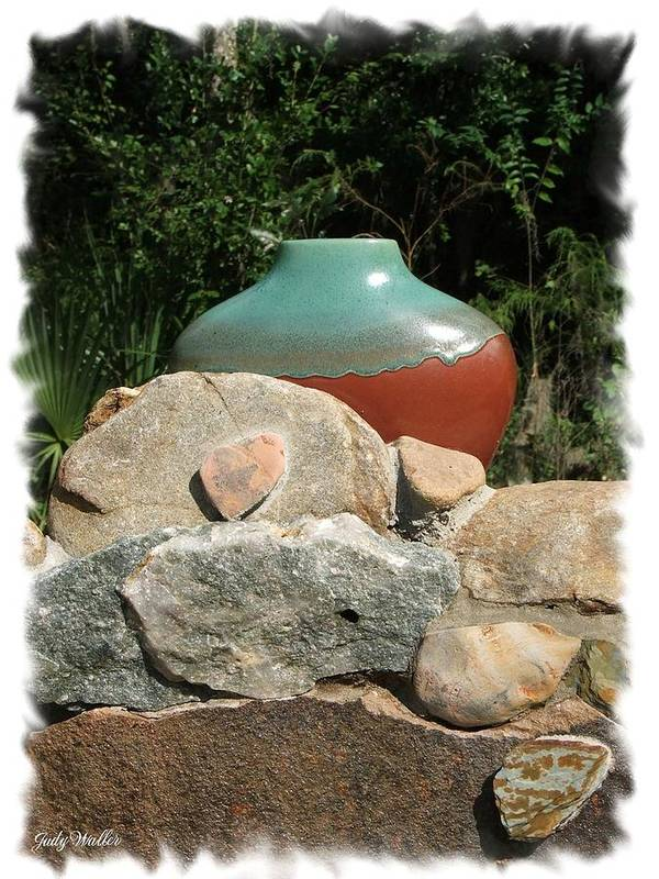 Landscape Poster featuring the photograph Teal And Brown Clay Pot by Judy Waller
