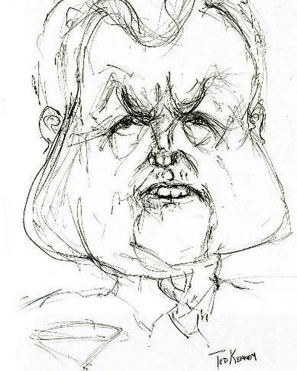 Political Cartoon Kennedy Graphite Paper Satire Poster featuring the drawing Ted Kennedy by Cartoon Hempman