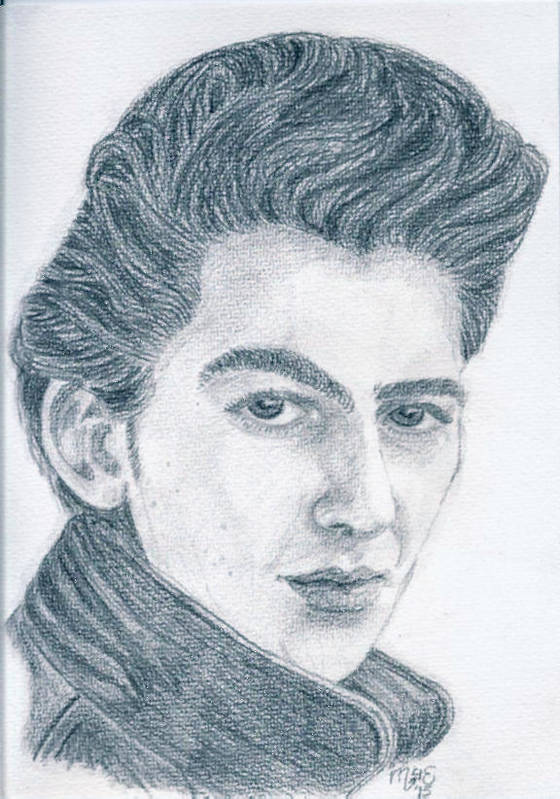 George Harrison Poster featuring the drawing Teddy Boy George by Chantal De Paus
