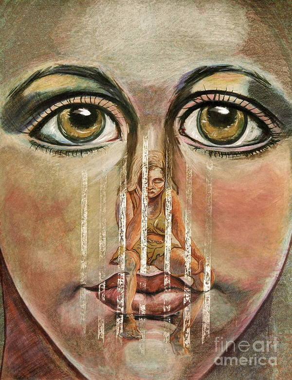 Girls Poster featuring the painting Teen Depression by Gail Allen