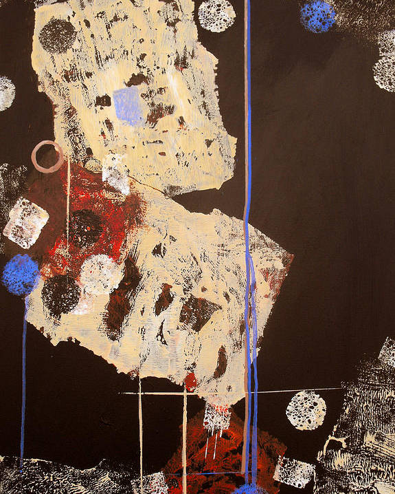 Abstract Poster featuring the painting Teeter by Ruth Palmer