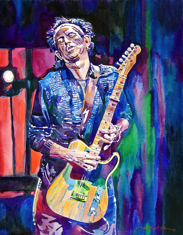 Keith Richards Poster featuring the painting Telecaster- Keith Richards by David Lloyd Glover