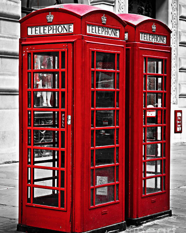 London Poster featuring the photograph Telephone Boxes In London by Elena Elisseeva