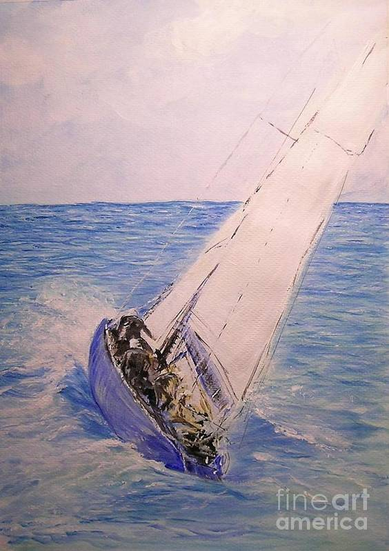 Seascape Poster featuring the painting Tell Tails In The Wind by Lizzy Forrester