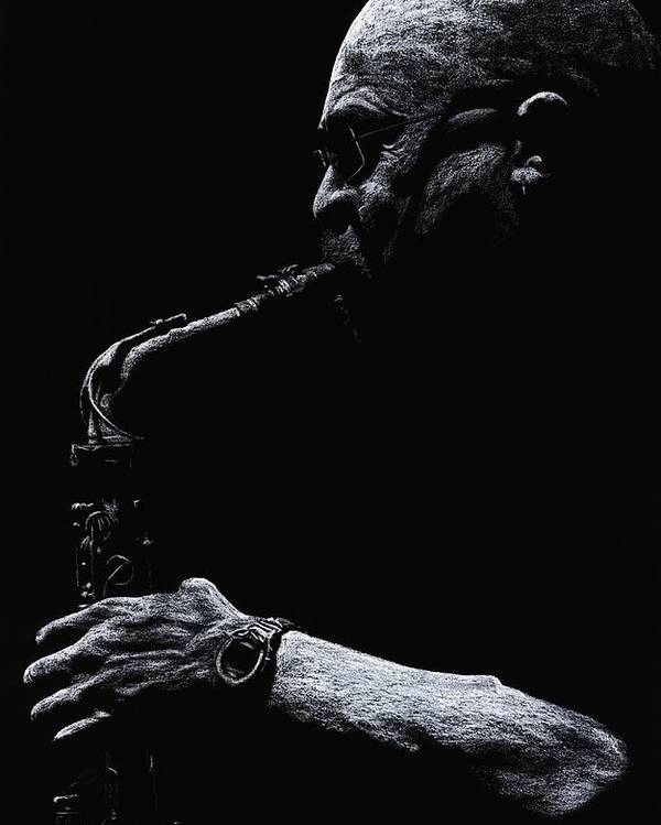 Musician Poster featuring the pastel Temperate Sax by Richard Young
