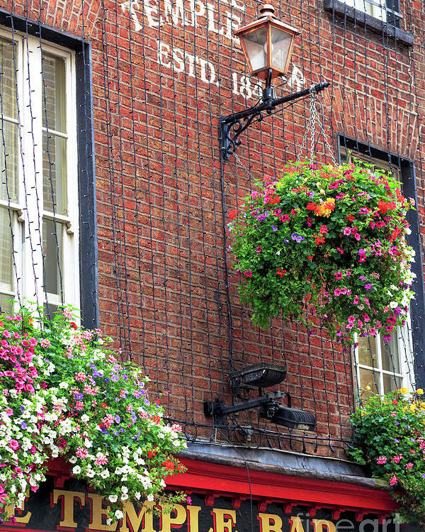 Temple Bar Flowers Poster featuring the photograph Temple Bar Flowers by John Rizzuto