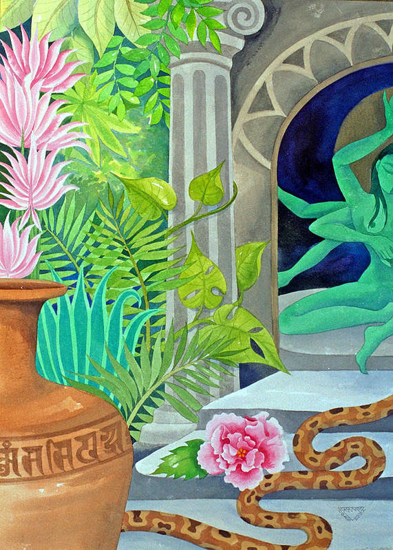 Temple Jungle Exotic Sensuous Mystery Goddess Poster featuring the painting Temple In The Jungle by Jennifer Baird
