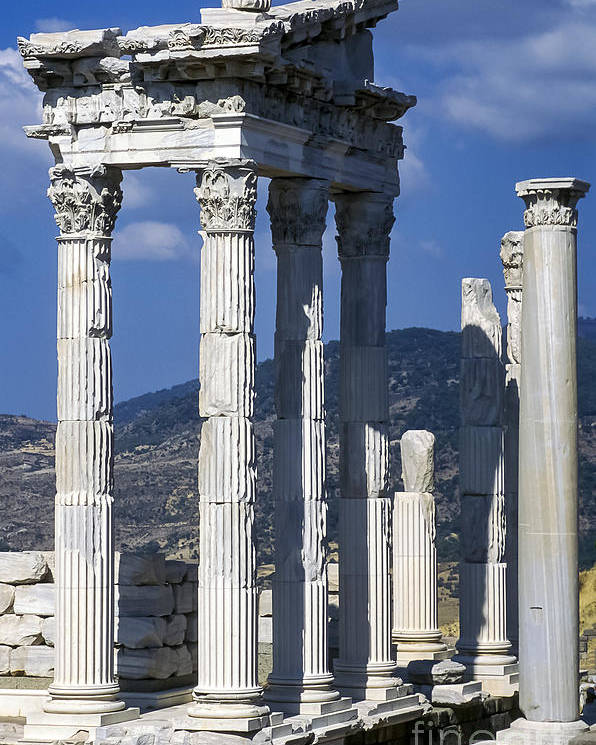 Bergama Pergamon Turkey Ancient Ruins Ruin Acropolis Landscape Landscapes Architecture Structures Structures Trajan Temple Temples Column Columns Place Of Worship Places Of Worship Landmark Landmarks Poster featuring the photograph Temple Of Trajan View 1 by Bob Phillips