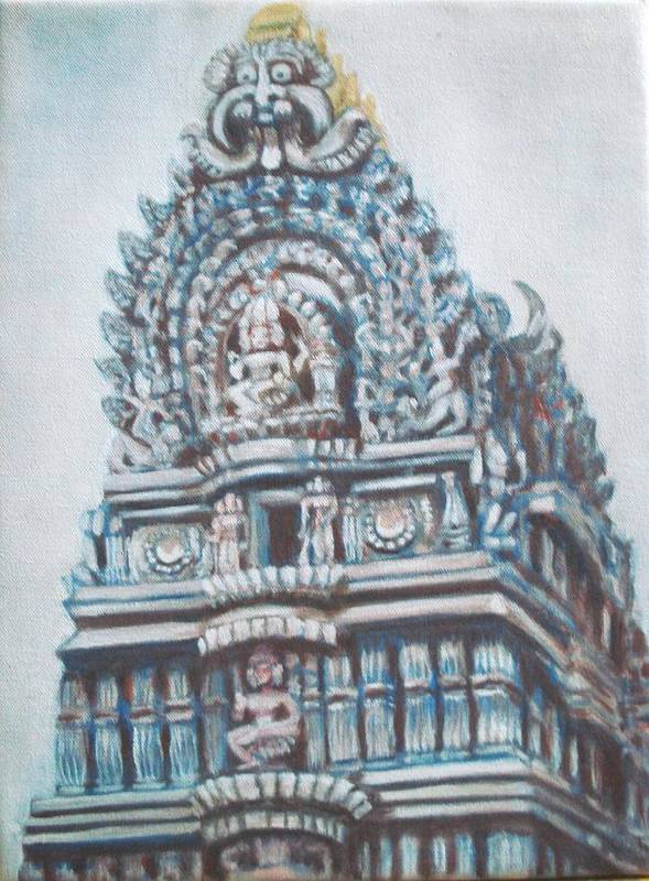 Temple Poster featuring the painting Temple by Usha Shantharam