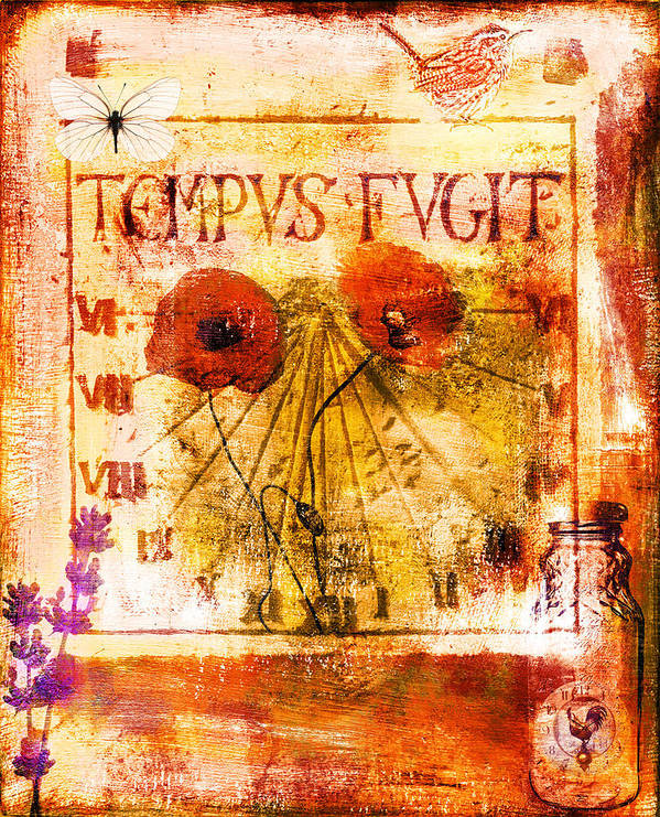 Collage Poster featuring the painting Tempus Fugit by Jude Reid