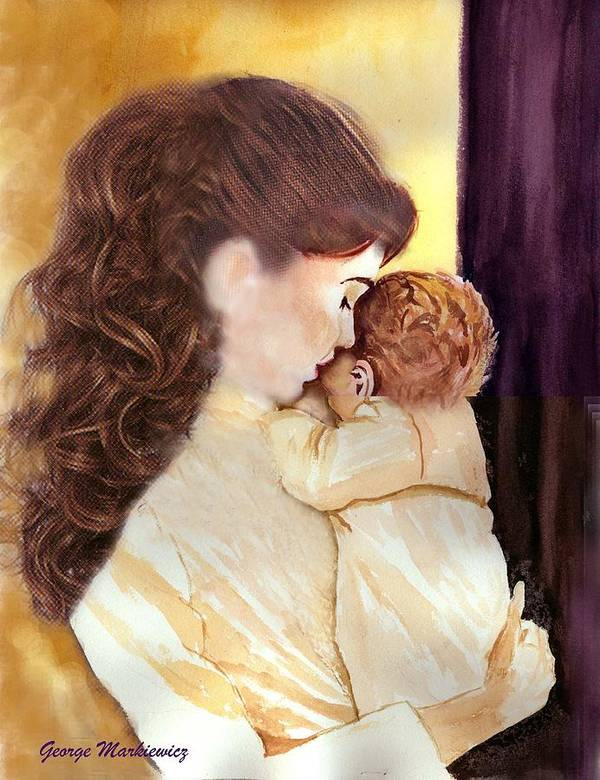 Mother And Baby Poster featuring the print Tenderness by George Markiewicz
