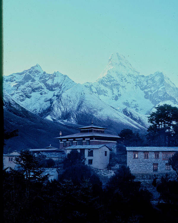 Tengboche Poster featuring the photograph Tengboche Monastery by Omar Shafey
