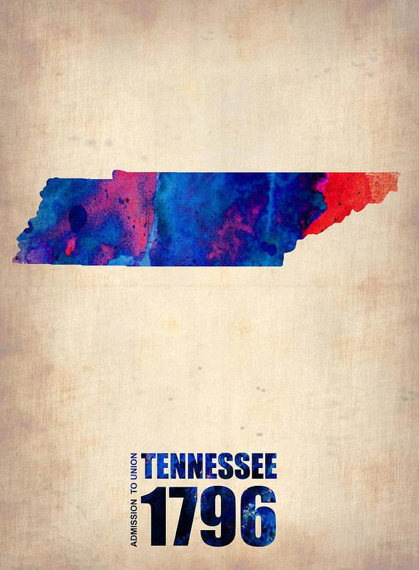 Tennessee Poster featuring the digital art Tennessee Watercolor Map by Naxart Studio