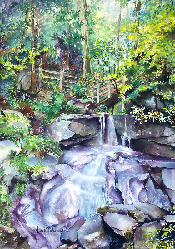 Waterfall Poster featuring the painting Tennessee Waterfall by Anne Rhodes