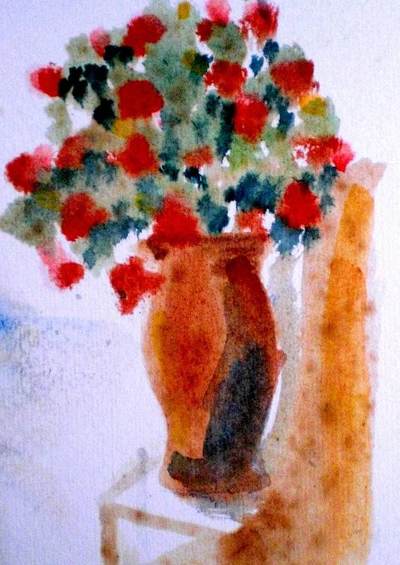 Terracotta Vase Poster featuring the painting Terracotta Vase And Flowers by Maria Rosaria DAlessio