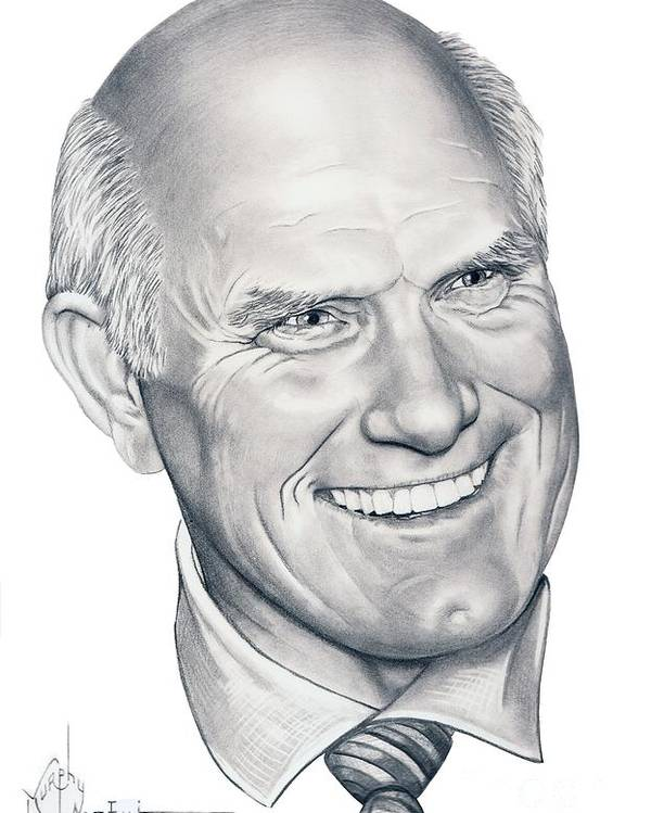 Terry Bradshaw Poster featuring the drawing Terry Bradshaw-murphy Elliott by Murphy Elliott