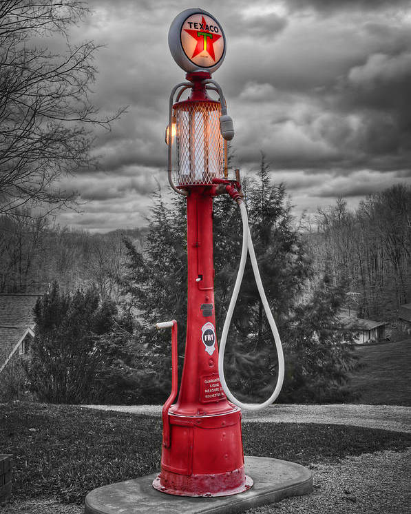 Gas Pumps Poster featuring the photograph Texaco Gas Pump by Williams-Cairns Photography LLC