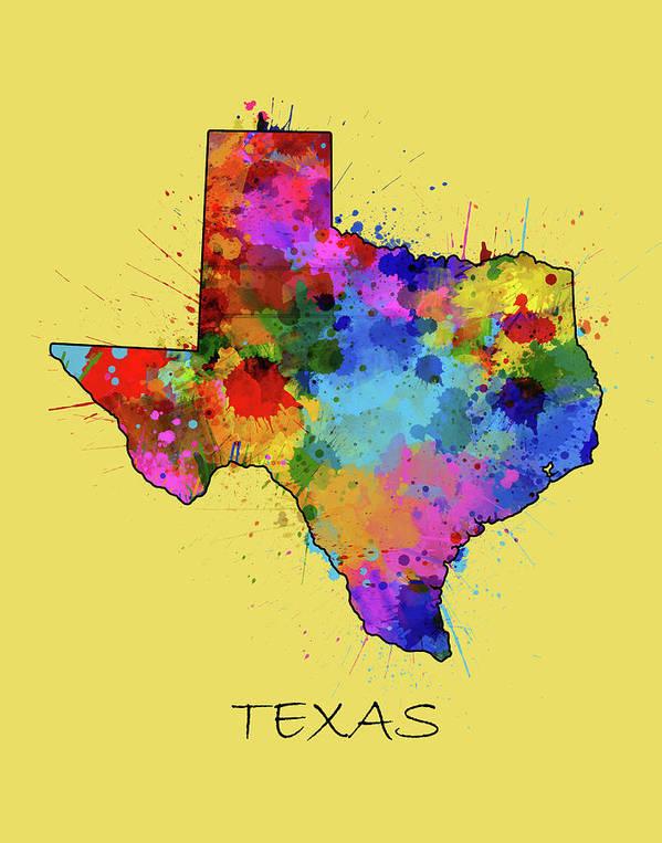Texas Poster featuring the digital art Texas Map Color Splatter 4 by Bekim M