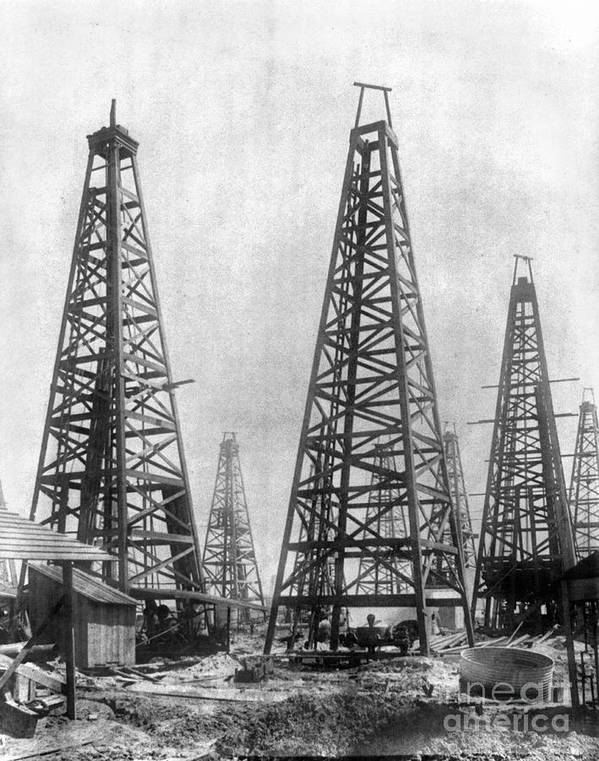 1901 Poster featuring the photograph Texas: Oil Derricks, C1901 by Granger