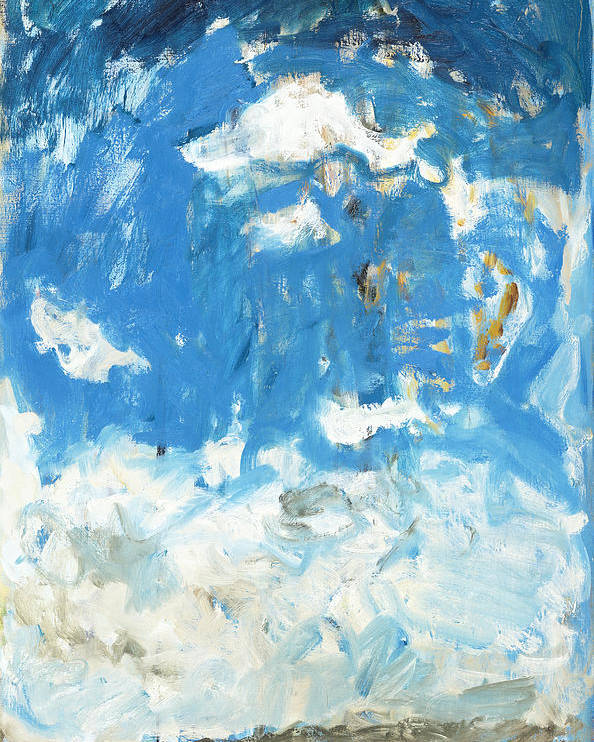 Texel Netherlands Beach Sky Blue Kite Clouds Sea Poster featuring the painting Texel Beach by Joan De Bot
