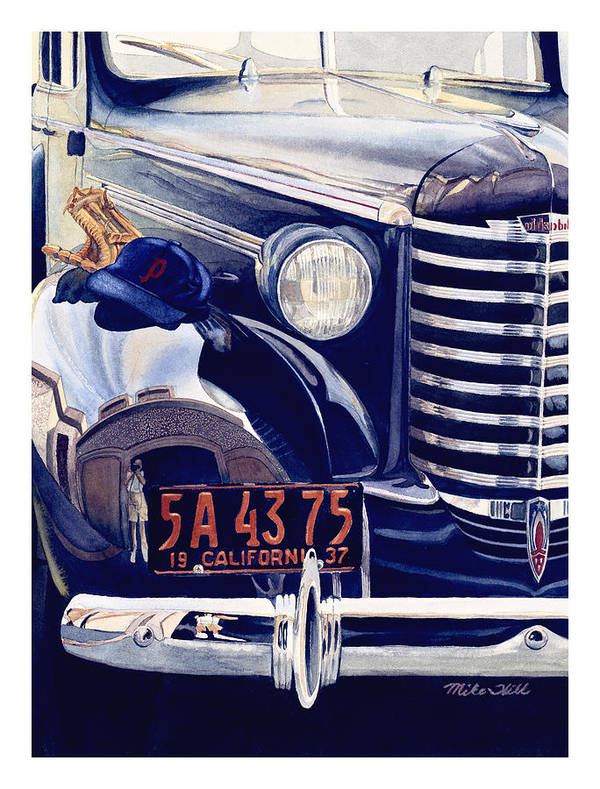 1937 Olds Oldsmobile Car Automobile Baseball Mitt Hat California Portland Beavers Christmas Story Poster featuring the painting Thanks Pop by Mike Hill
