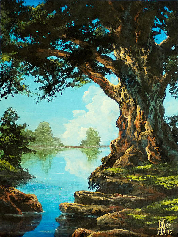 Trees Poster featuring the painting That Special Place by Marco Antonio Aguilar
