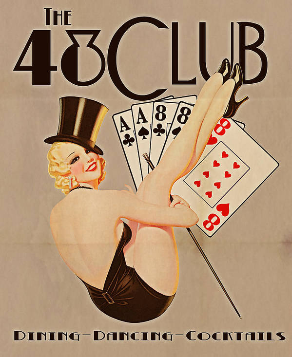 Vintage Poster featuring the digital art The 48 Club by Cinema Photography