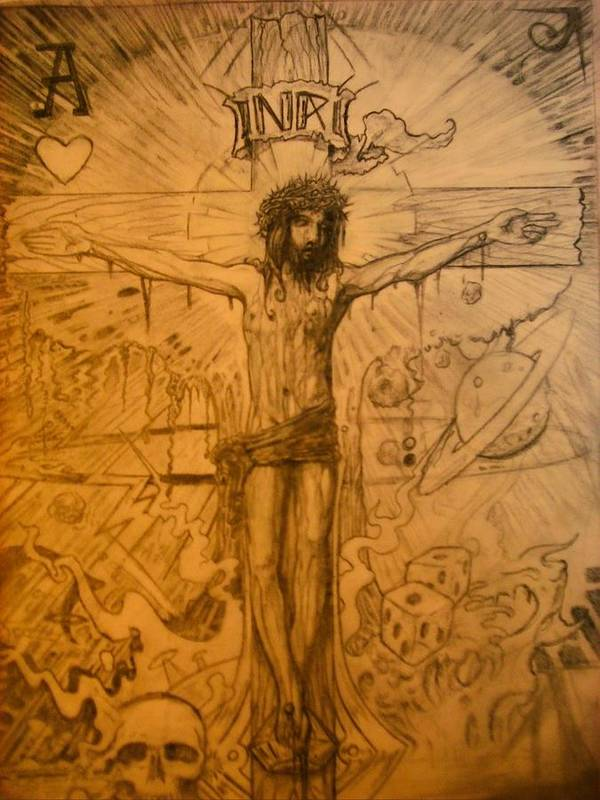 Jesus Poster featuring the drawing The Ace Of Hearts by Will Le Beouf