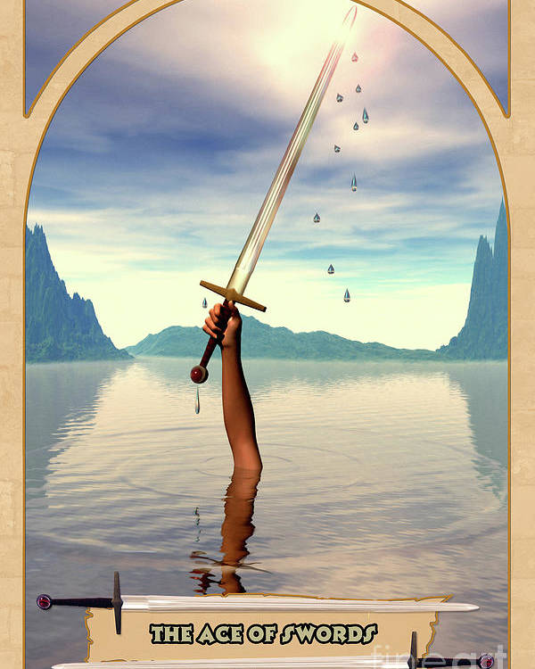 Magic Poster featuring the digital art The Ace Of Swords by John Edwards