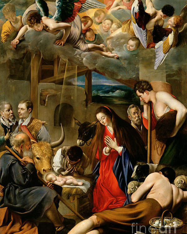 Donkey; Ox; Stable; Manger; Shepherd; Jesus; Christ; Mary; Virgin; Madonna;nativity; Jesus Christ; Infant Christ; Virgin Mary; Madonna; Joseph; Cow; Sheep; Eggs; Basket; Donkey; Stable; Cherubs; Angels; Shepherd; Adoration Poster featuring the painting The Adoration Of The Shepherds by Fray Juan Batista Maino or Mayno