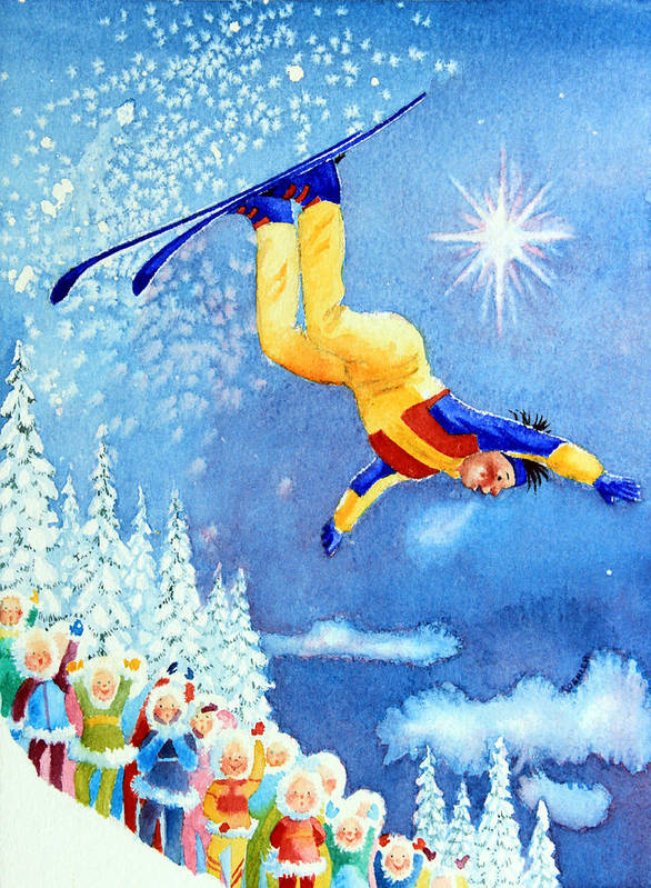 Kids Art For Ski Chalet Poster featuring the painting The Aerial Skier 18 by Hanne Lore Koehler