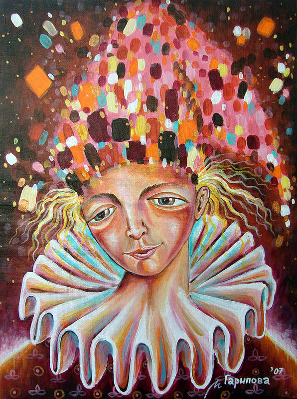 Jester Poster featuring the painting The Analyst by Liliya Garipova