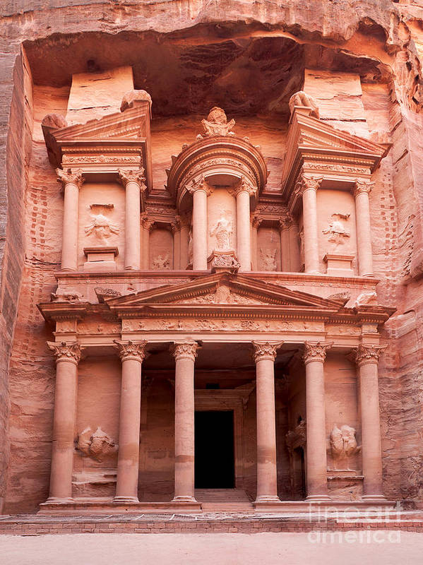 Red Poster featuring the photograph The Ancient Treasury Petra by Jane Rix