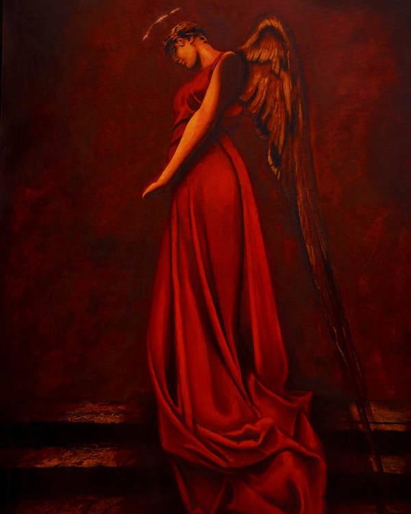 Giorgio Poster featuring the painting The Angel Of Love by Giorgio Tuscani