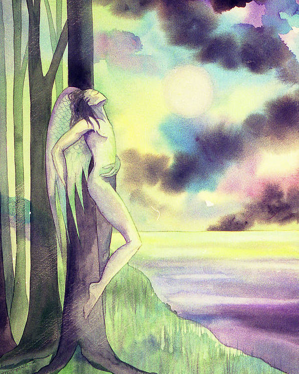 Angel Forest Trees Moonlight Clouds Sea Dawn Spiritual Poster featuring the painting The Angel's Bliss by Jennifer Baird