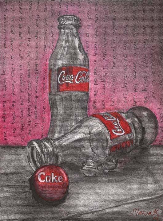 Coca Cola Bottles Still Life Poster featuring the pastel The Art Of Coca Cola by Maria Kobalyan