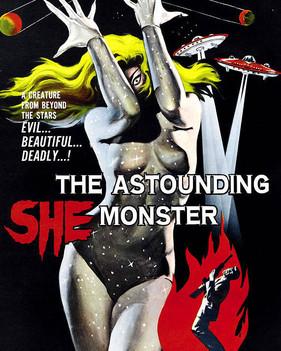 1950s Poster Art Poster featuring the photograph The Astounding She-monster, 1-sheet by Everett