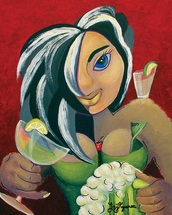 Bar Poster featuring the painting The Barwaitress by Elizabeth Lisy Figueroa