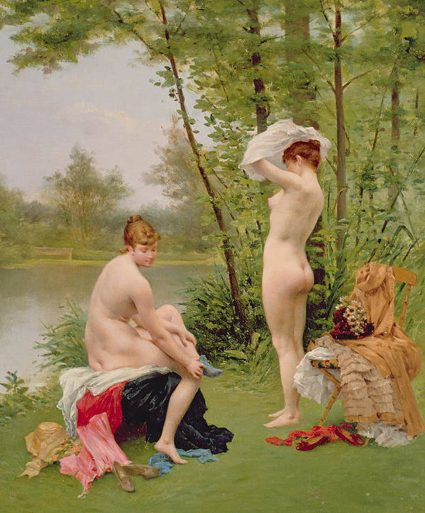 Nude Poster featuring the painting The Bathers by Jules Scalbert