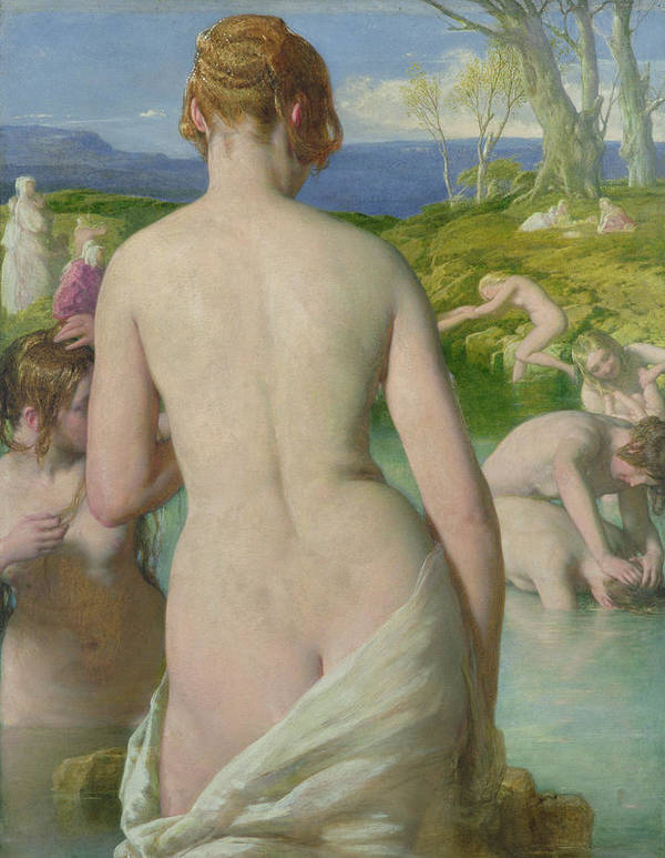 Nude Poster featuring the painting The Bathers by William Mulready