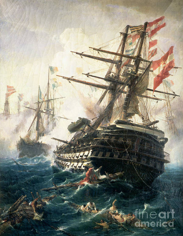 Cracked Poster featuring the painting The Battle Of Lissa by Constantin Volonakis