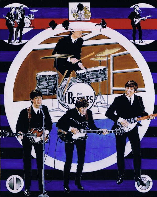 1960s Poster featuring the drawing The Beatles - Live On The Ed Sullivan Show by Sean Connolly