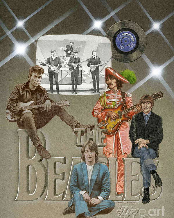 Beatles Poster featuring the painting The Beatles by Marshall Robinson
