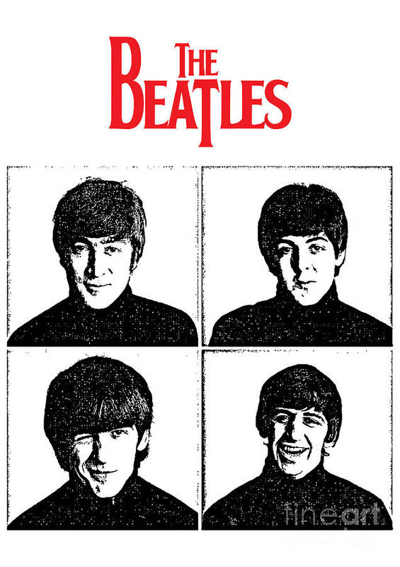 The Beatles Poster featuring the digital art The Beatles No.12 by Geek N Rock