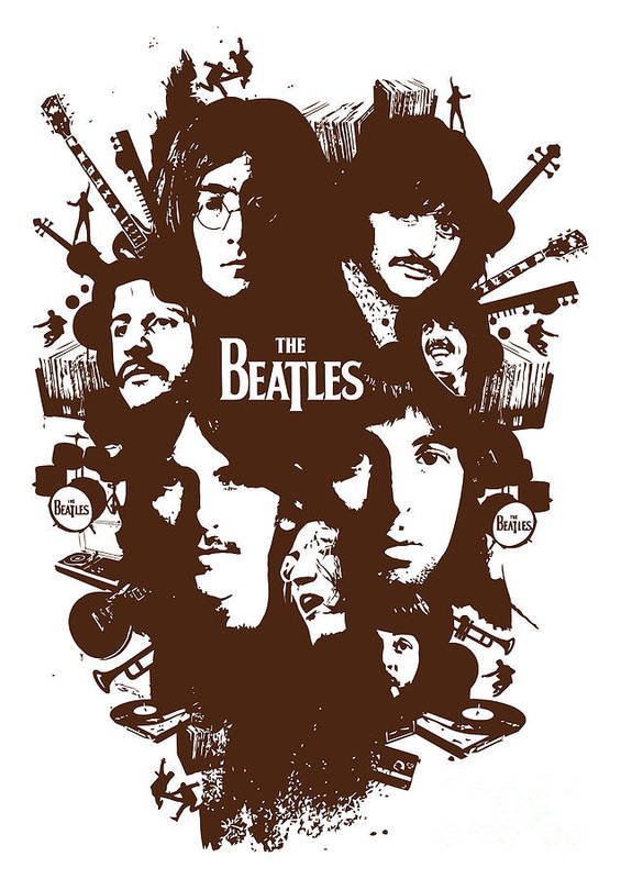 The Beatles Poster featuring the digital art The Beatles No.15 by Geek N Rock