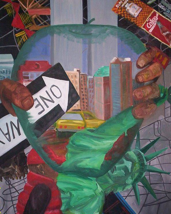 New York Poster featuring the painting The Big Apple by Lauren Luna