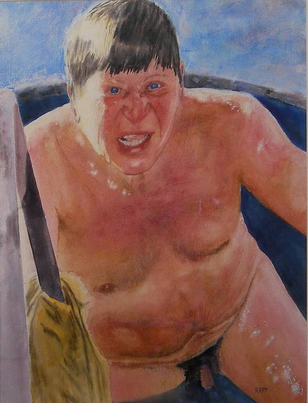 Nude Poster featuring the painting The Big Finn by Jan Rapp