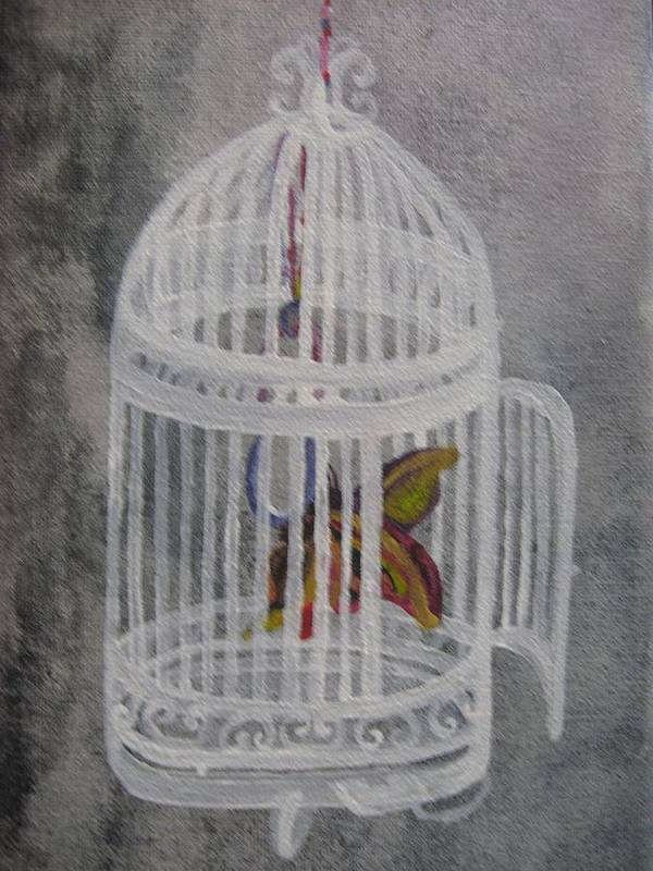 Butterfly Poster featuring the painting The Bird Cage by Theodora Dimitrijevic